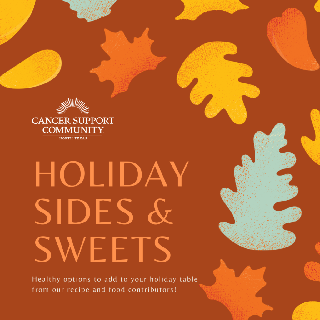 A graphic introducing our recipe series, Holiday Sides & Sweets!